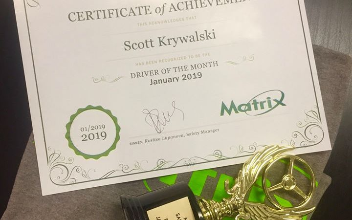 Scott Krywalski - safe driver of the month in January 2019